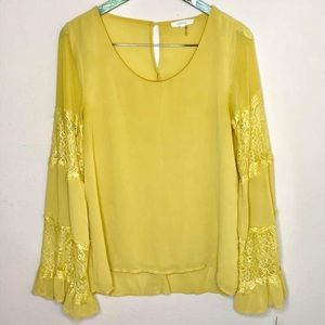 Entro Yellow Lace Blouse Scoop Neck Long Sleeve